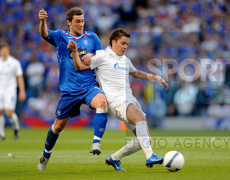 Kevin Thomson of Rangers and Viktor Faizulin of Zenit St Petersburg during the Europa League Final match at The Etihad Stadium, Manchester. Picture date 14th May 2008. Picture credit should read: Simon Bellis/Sportimage
