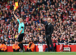 Manchester City's Pep Guardiola appeals a decision during the Premier League match at the Emirates Stadium, London. Picture date: April 2nd, 2017. Pic credit should read: David Klein/Sportimage