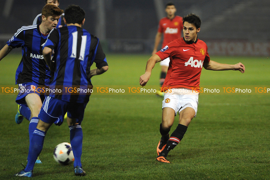 Reece James of Manchester United makes a pass - Manchester United Under-21 vs Middlesbrough Under-21 - Barclays Under-21 Premier League Football at Salford City Stadium, Manchester - 20/01/14 - MANDATORY CREDIT: Greig Bertram/TGSPHOTO - Self billing applies where appropriate - 0845 094 6026 - contact@tgsphoto.co.uk - NO UNPAID USE