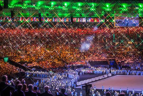 07.9.2016. Rio de Janeiro, Brazil.  Members of the Brasilian team enter the stadium during the Opening Ceremony of the Rio 2016 Paralympic Games, Rio de Janeiro, Brazil, 07 September 2016.