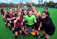 The Waiopehu team celebrates winning the 2017 Jenny Hair Cup girls hockey match between Marlborough Girls' College (white and yellow) and Waiopehu College (purple and black) at Hockey Manawatu Twin Turfs in Palmerston North, New Zealand on Wednesday, 6 September 2017. Photo: Dave Lintott / lintottphoto.co.nz