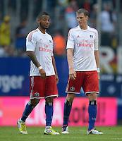 FUSSBALL   1. BUNDESLIGA   SAISON 2012/2013   LIGA TOTAL CUP  Hamburger SV - Borussia Dortmund        04.08.2012 Entteuschte Hamburger: Dennis Aogo (li) und Marcell Jansen (re, beide Hamburger SV)