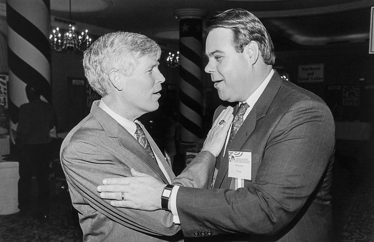 Sen. Connie Mack III, R-Fla. with Nevada Senate Candidate Hal Furman getting to know each other at the Republican Senate Mid Term Convention at the Omni Hotel on May 10, 1994. (Photo by Chris Martin/CQ Roll Call)