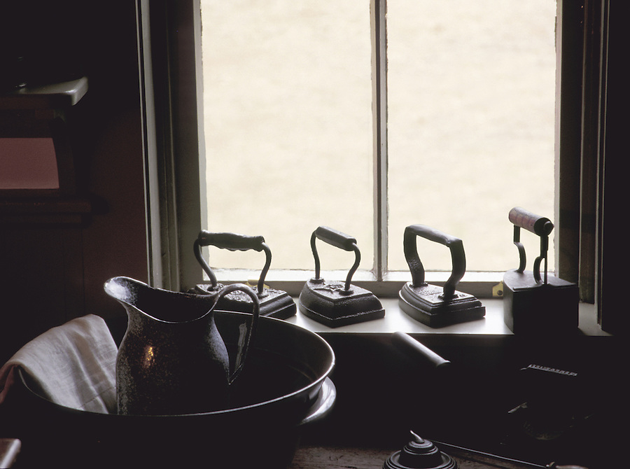 Irons and wash bowl by window, Green Gables, Cavendish, Prince Edward Island National Park, Prince Edward Island, Canada