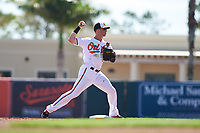 Baltimore Orioles second baseman Steve Wilkerson (12) throws to first base during a Grapefruit League Spring Training game against the Tampa Bay Rays on March 1, 2019 at Ed Smith Stadium in Sarasota, Florida.  Rays defeated the Orioles 10-5.  (Mike Janes/Four Seam Images)