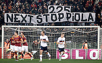 Calcio, Serie A: Roma vs Genoa. Roma, stadio Olimpico, 3 marzo 2013..AS Roma fans show a banner aimed to captain Francesco Totti, after he scored during the Italian Serie A football match between AS Roma and Genoa at Rome's Olympic stadium, 3 March 2013. Totti has tied Swedish great Gunnar Nordahl for second place on Serie A's all-time scoring list with his 225th goal. Silvio Piola, who played for Pro Vercelli, Lazio, Torino, Juventus and Novara from 1929 to 1954, leads the all-time list with 274 goals..UPDATE IMAGES PRESS/Riccardo De Luca