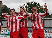 Jamie McHarrie (left) with Robert Jones (centre) and Scott Forrester after scoring in the Huntly v Wigtown & Bladnoch William Hill Scottish Cup 1st Round match, at Christie Park, Huntly on 25.8.12.