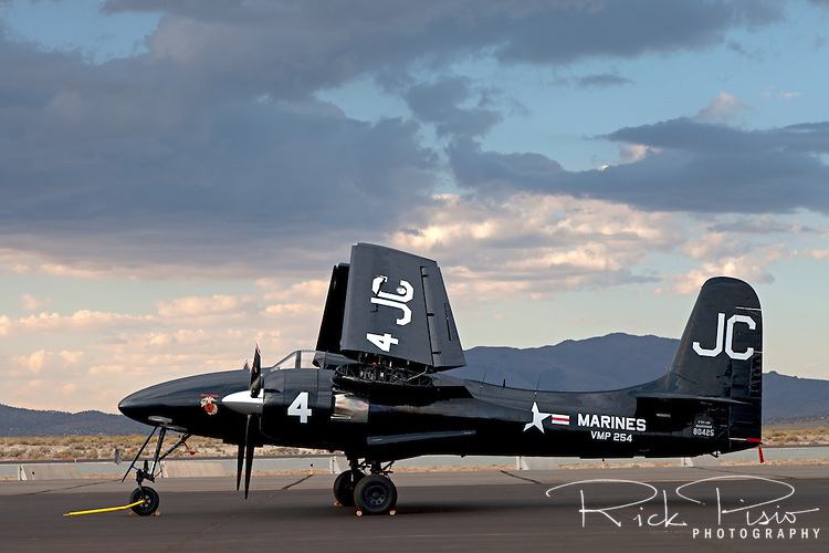Grumman F7F Tigercat sitting on the ramp at Stead Field near Reno, Nevada.