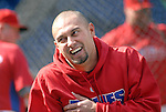 10/17/08 1:25:23 PM -- Philadelphia, PA, U.S.A. -- Philadelphia Phillies Shane Victorino warms up before practice October 17, 2008 at Citizen's Bank Park in Philadelphia, Pennsylvania. Victorino showed the team that cast him aside that it made a costly error. The Philadelphia outfielder, who spent six years in the L.A. Dodgers' farm system, used key hits in pressure situations, including a triple, Game 4 eighth-inning homer and six RBI during the NLCS, to help the Phillies beat the Dodgers and reach their first World Series since 1993. -- ...Photo by William Thomas Cain, Freelance.