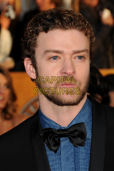 JUSTIN TIMBERLAKE .16th Annual Screen Actors Guild Awards - Arrivals held at The Shrine Auditorium,  Los Angeles, California, USA, .23rd January 2010..SAG SAGs portrait headshot black suit bow tie green blue shirt tux tuxedo beard facial hair ruffle pintuck .CAP/ADM/BP.©Byron Purvis/Admedia/Capital Pictures