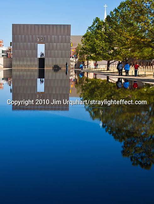 The reflecting pool at the Oklahoma City National Memorial and Museum. The site of the domestic terrorism attack on the Alfred P. Murrah Federal Building on April 19, 1995, that killed 168. Oklahoma City Bombing National Memorial. Jim Urquhart/straylighteffect.com 3/17/2010
