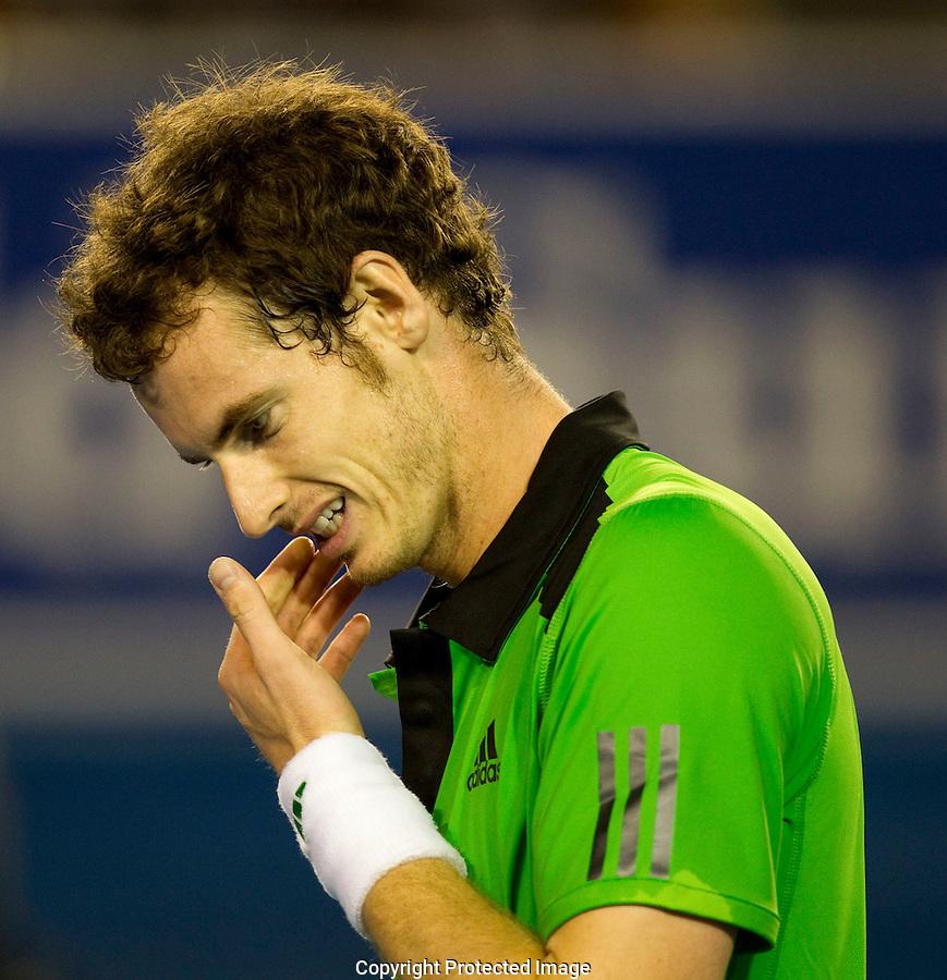 Melbourne Park Australian Open Tennis Day 9 30/01/2011..Andy Murray (GBR) (5) against Novak Djokovic (SRB) (3) in the final of the men's singles. Novak Djokovic beat Andy Murray 6-4 6-2 6-3...Photo: Mike Frey Fotosports International.