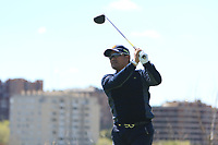 Yusaku Miyazato (JPN) on the 2nd tee during Round 3 of the Open de Espana 2018 at Centro Nacional de Golf on Saturday 14th April 2018.<br /> Picture:  Thos Caffrey / www.golffile.ie<br /> <br /> All photo usage must carry mandatory copyright credit (&copy; Golffile | Thos Caffrey)