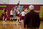 WATERBURY, CT-120618JS05-Sacred Heart assistant coach Stan Stasaitis looks on as players run through plays during practice Thursday at Alumni Hall. <br /> Jim Shannon Republican American