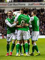 5th February 2020; Ibrox Stadium, Glasgow, Scotland; Scottish Premiership Football, Rangers versus Hibernian; Paul Hanlon of Hibernian celebrates after scoring the opening goal for 0-1 in the 35th minute