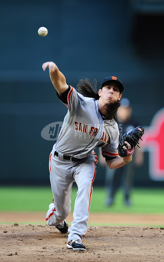 Apr. 6, 2012; Phoenix, AZ, USA; San Francisco Giants pitcher Tim Lincecum throws in the first inning against the Arizona Diamondbacks during opening day at Chase Field.  Mandatory Credit: Mark J. Rebilas-