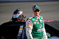 Oct. 9, 2009; Fontana, CA, USA; NASCAR Sprint Cup Series driver Dale Earnhardt Jr during qualifying for the Pepsi 500 at Auto Club Speedway. Mandatory Credit: Mark J. Rebilas-
