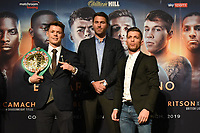 Charlie Edwards (L), Eddie Hearn and Angel Moreno during a Press Conference at the Grange City Hotel on 6th February 2019