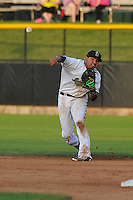 Clinton LumberKings Rayder  Ascanio (13) throws to first base during the Midwest League game against the Beloit Snappers at Ashford University Field on June 11, 2016 in Clinton, Iowa.  The LumberKings won 7-6.  (Dennis Hubbard/Four Seam Images)