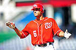 29 August 2010: Washington Nationals infielder Ian Desmond in action against the St. Louis Cardinals at Nationals Park in Washington, DC. The Nationals defeated the Cards 4-2 to take the final game of their 4-game series. Mandatory Credit: Ed Wolfstein Photo