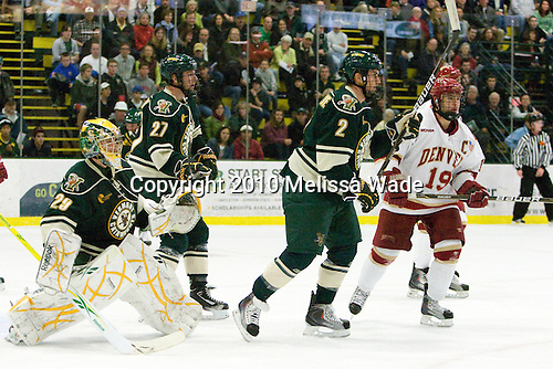 Rob Madore (Vermont - 29), Anders Franzon (Vermont - 27), Drew MacKenzie (Vermont - 2), Kyle Ostrow (Denver - 19) - The visiting Denver University Pioneers defeated the University of Vermont Catamounts 5-3 (EN) on Friday, October 8, 2010, at Gutterson Fieldhouse in Burlington, Vermont.