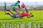 Brosna's Seamus McAuliffe releases the ball as Niall Moloney of Blackrock looks on in the Munster Junior B Football final held last Sunday in Knockaderry.