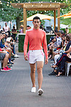 "Model walks runway in an outfit from the Edwing D'Angelo Spring Summer 2019 ""Pristine"" collection at Sofrito in New York City on July 11, 2018; during New York Fashion Week: Men's Spring Summer 2019."