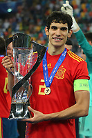 Jesus Vallejo of Spain wins and celebrates the cup<br /> Udine 30-06-2019 Stadio Friuli <br /> Football UEFA Under 21 Championship Italy 2019<br /> final<br /> Spain - Germany<br /> Photo Cesare Purini / Insidefoto