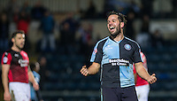 Sam Wood of Wycombe Wanderers celebrates scoring his goal in the last minute to make it 2-0 during the Sky Bet League 2 match between Wycombe Wanderers and Crawley Town at Adams Park, High Wycombe, England on 28 December 2015. Photo by Andy Rowland / PRiME Media Images