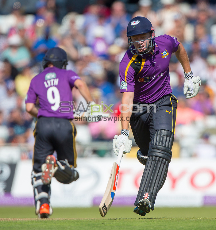 Picture by Alex Whitehead/SWpix.com - 06/09/2015 - Cricket - Royal London One-Day Cup, Semi-Final - Yorkshire CCC v Gloucestershire CCC - Headingley Cricket Ground, Leeds, England - Yorkshire's Jonny Bairstow (R) and Adam Lyth (L) run between the wickets.