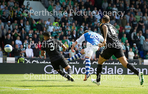 St Johnstone v Celtic....15.09.12      SPL  .Peter Pawlett fires over the bar from close range.Picture by Graeme Hart..Copyright Perthshire Picture Agency.Tel: 01738 623350  Mobile: 07990 594431