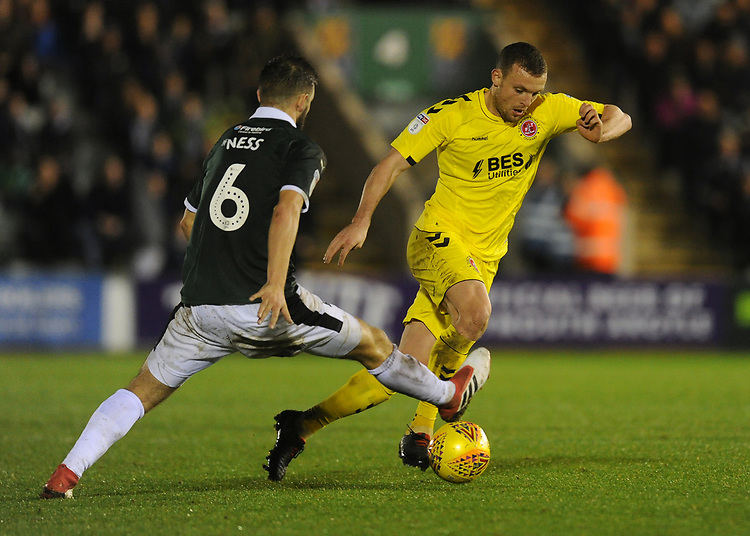 Fleetwood Town's James Wallace under pressure from Plymouth Argyle's Jamie Ness<br /> <br /> Photographer Kevin Barnes/CameraSport<br /> <br /> The EFL Sky Bet League One - Plymouth Argyle v Fleetwood Town - Saturday 24th November 2018 - Home Park - Plymouth<br /> <br /> World Copyright © 2018 CameraSport. All rights reserved. 43 Linden Ave. Countesthorpe. Leicester. England. LE8 5PG - Tel: +44 (0) 116 277 4147 - admin@camerasport.com - www.camerasport.com