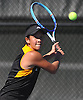 Kimberly Liao of Commack returns a shot from Emily Tannenbaum (not pictured), also of Commack, during the Suffolk County girls tennis Division I singles final at Half Hollow Hills West High School on Tuesday, Oct. 11, 2016.