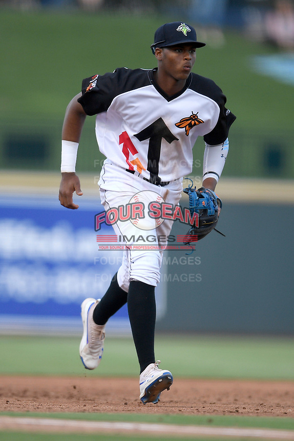 Third baseman Shervyen Newton (3) of the Columbia Fireflies plays defense in a game against the Lexington Legends on Thursday, June 13, 2019, at Segra Park in Columbia, South Carolina. Lexington won, 10-5. (Tom Priddy/Four Seam Images)