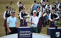 With the trophy Brandon Stone (RSA) wins the Final Round of the ASI Scottish Open 2018, at Gullane, East Lothian, Scotland.  15/07/2018. Picture: David Lloyd | Golffile.<br /> <br /> Images must display mandatory copyright credit - (Copyright: David Lloyd | Golffile).