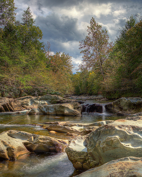 A tranquil scene in the Greenbrier section of the Great Smoky Mountains National Park as storm clouds gather. HDR image from three separate exposures.