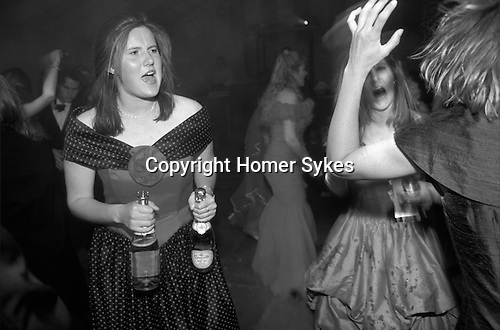"""Cirencester Royal Agricultural College annual end of year dance Gloucestershire England. Circa 1985. """"Girls in red and blue,pink Champagne."""""""