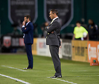 Portland Timbers head coach Caleb Porter watches his team during a Major League Soccer match at RFK Stadium in Washington, DC.  The Portland Timbers defeated D.C. United, 2-0.