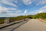 Franconia Notch State Park - The old U.S. Route 3 bridge over Lafayette Brook is closed to traffic and is part of the multi-use trail Franconia Notch Bike Path in the White Mountains, New Hampshire USA