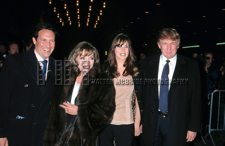 Percy Gibsons, Joan Collins, Melania Knauss and Donald Trump attend theOpening night of &quot;Oklahoma&quot; at the Gershwinn Theatre, NYC<br />