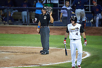 Quad Cities River Bandits Myles Straw (4) walks back to the dugout after having words with umpire Brandin Sheeler during a game against the Bowling Green Hot Rods on July 24, 2016 at Modern Woodmen Park in Davenport, Iowa.  Quad Cities defeated Bowling Green 6-5.  (Mike Janes/Four Seam Images)