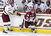 Pat Mullane (BC - 11), T.J. Syner (UMass - 14) - Cam Atkinson (BC - 13), Brian Gibbons (BC - 17) - The Boston College Eagles defeated the University of Massachusetts-Amherst Minutemen 5-2 on Saturday, March 13, 2010, at Conte Forum in Chestnut Hill, Massachusetts, to sweep their Hockey East Quarterfinals matchup.