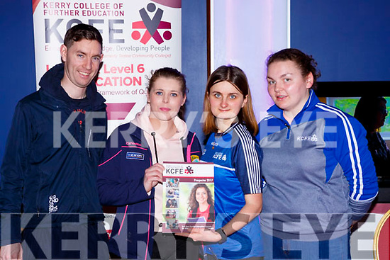 Paul Horan Kilcummin and Katrina Davies Killarney get inf on the Kerrry College of Further Education from Anna Lorczak and Maire Twiss  at the balance senimar in the INEC on Sunday