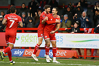 Ollie Palmer (R) of Crawley Town scores the first goal for his team and celebrates to make it 1-1 during Crawley Town vs Fleetwood Town, Emirates FA Cup Football at Broadfield Stadium on 1st December 2019