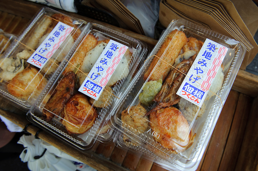 Various fried kamaboko at Tsukugon's Tsukiji shop, Tsukugon kamaboko factory and shop, Tokyo, Japan, August 28, 2009.