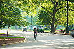 Biking through the circle.  Photo by Kevin Bain/University Communications Photography.