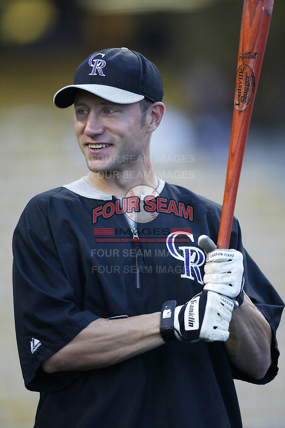 Ross Gload of the Colorado Rockies before a 2002 MLB season game against the Los Angeles Dodgers at Dodger Stadium, in Los Angeles, California. (Larry Goren/Four Seam Images)