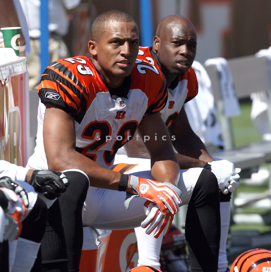 LEON HALL,of the Cincinnati Bengals, in actions during the Bengals  game against the Denver Broncos  on September 13, 2009 in Cincinnati, OH  The Broncos beat the Bengals 12-7.