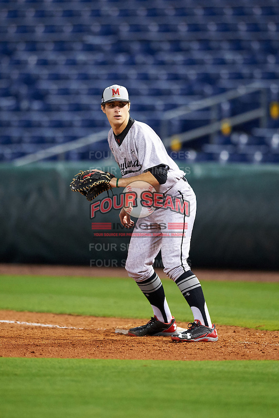 Maryland Terrapins Barrett Smith (43) during practice before a game against the Louisville Cardinals on February 18, 2017 at Spectrum Field in Clearwater, Florida.  Louisville defeated Maryland 10-7.  (Mike Janes/Four Seam Images)