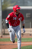 Cincinnati Reds first baseman Jake Turnbull (38) during a Minor League Spring Training game against the Los Angeles Angels at the Cincinnati Reds Training Complex on March 15, 2018 in Goodyear, Arizona. (Zachary Lucy/Four Seam Images)